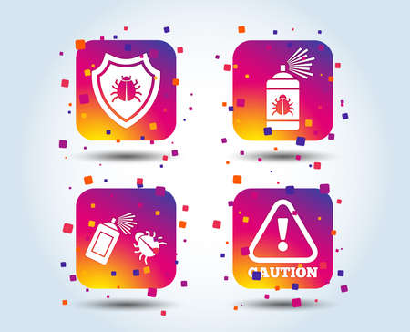 Bug disinfection icons. Caution attention and shield symbols. Insect fumigation spray sign. Colour gradient square buttons. Flat design concept. Vector Illustration