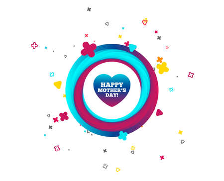 Happy Motherss Day sign icon. Mom symbol. Colorful button with icon. Geometric elements. Vector