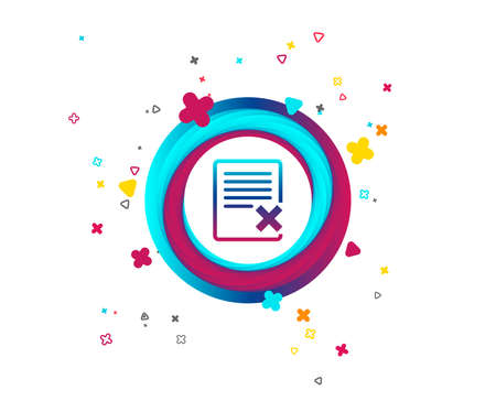 Delete file sign icon. Remove document symbol. Colorful button with icon. Geometric elements. Vector