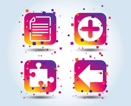 Plus add circle and puzzle piece icons. Document file and back arrow sign symbols. Colour gradient square buttons. Flat design concept. Vector