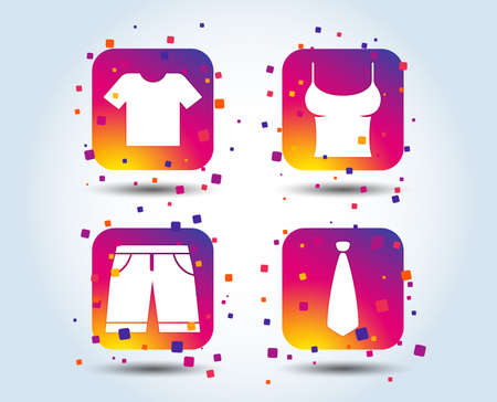 Clothes icons. T-shirt and bermuda shorts signs. Business tie symbol. Colour gradient square buttons. Flat design concept. Vector