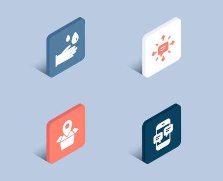 Set of Sms, Package location and Rubber gloves icons. Phone messages sign. Conversation, Delivery tracking, Hygiene equipment. Mobile chat.  3d isometric buttons. Flat design concept. Vector