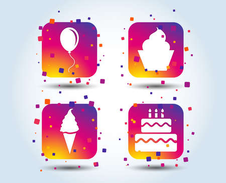 Birthday party icons. Cake with ice cream signs. Air balloon with rope symbol. Colour gradient square party buttons. Flat design concept. Vector