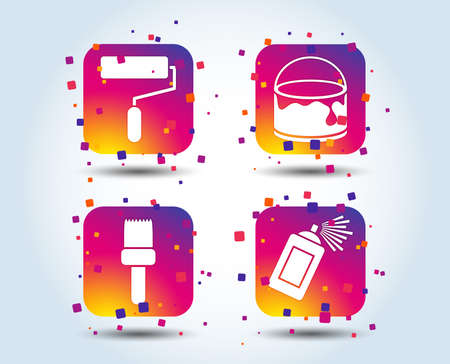 Painting roller, brush icons. Spray can and Bucket of paint signs. Wall repair tool and painting symbol. Colour gradient square buttons. Flat design concept. Vector Ilustración de vector