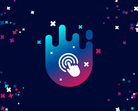 Hand Click simple icon. Finger touch sign. Cursor pointer symbol. Cool banner with icon. Abstract shape with gradient. Vector Illustration