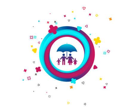 Icône de signe d'assurance familiale complète. Symbole de parapluie. Bouton coloré avec icône. Éléments géométriques avec signe d'assurance. Vecteur Vecteurs