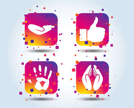Hand icons. Like thumb up symbol. Insurance protection sign. Human helping donation hand. Prayer hands. Colour gradient square buttons. Flat design concept. Vector
