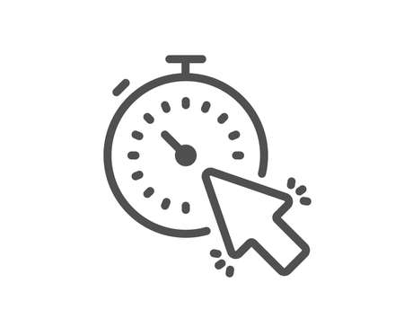 Timer line icon. Time or clock sign. Mouse cursor symbol. Quality design element. Classic style timer icon. Editable stroke. Vector