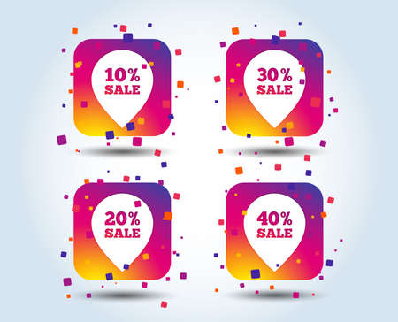 Sale pointer tag icons. Discount special offer symbols. 10%, 20%, 30% and 40% percent sale signs. Colour gradient square buttons. Flat design concept. Vector