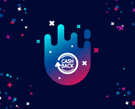 Cashback service simple icon. Money transfer sign. Rotation arrow symbol. Cool banner with icon. Abstract shape with gradient. Vector