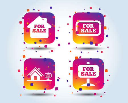 For sale icons. Real estate selling signs. Home house symbol. Colour gradient square buttons. Flat design concept. Vector Ilustracja