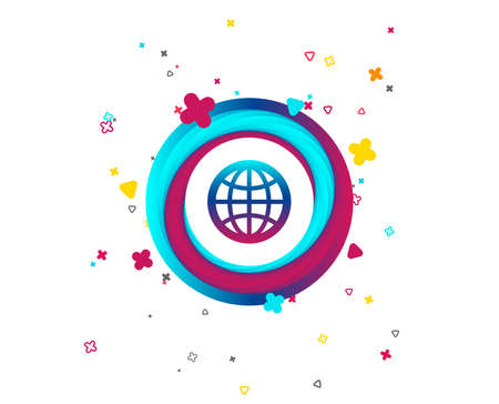 Globe sign icon. World symbol. Colorful button with icon. Geometric elements. Vector Illustration