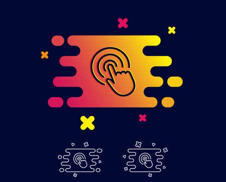 Haga clic en el icono de línea de mano. Signo de toque de dedo. Símbolo del puntero del cursor. Banner degradado con icono de línea. Forma abstracta. Vector
