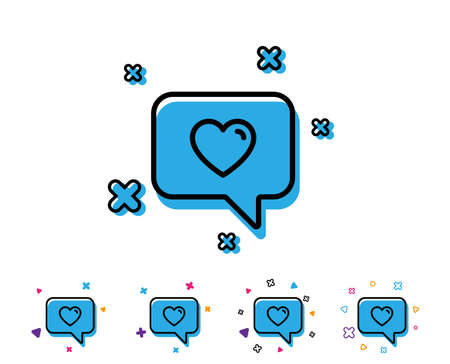 Heart in Speech bubble line icon. Love chat symbol. Valentines day communication sign. Heart line icon with geometric elements. Bright colourful design. Vector