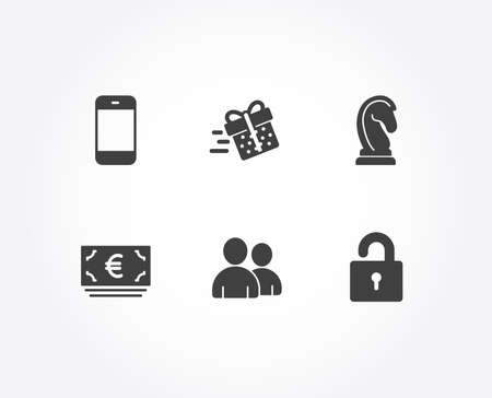 Set of Present delivery, Euro currency and Marketing strategy icons. Users, Smartphone and Lock signs. Shopping service, Eur banking, Chess knight. Couple of people, Cellphone or phone, Private locker