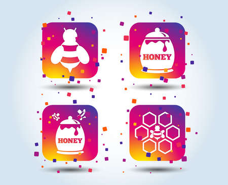 Honey icon. Honeycomb cells with bees symbol. Sweet natural food signs. Colour gradient square buttons. Flat design concept. Vector Stock Illustratie