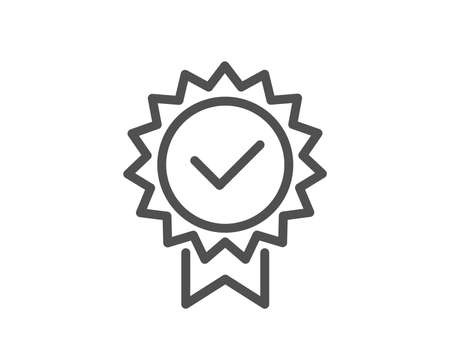 Certificate line icon. Verified award sign. Accepted or confirmed symbol. Quality design element. Classic style certificate. Editable stroke. Vector