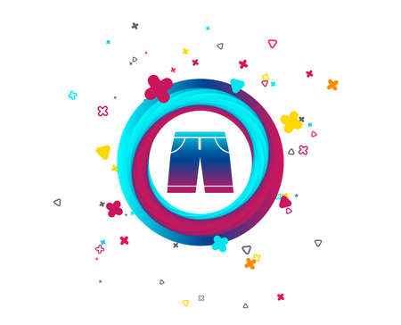 Men's Bermuda shorts sign icon. Clothing symbol. Colorful button with icon. Geometric elements. Vector Ilustração