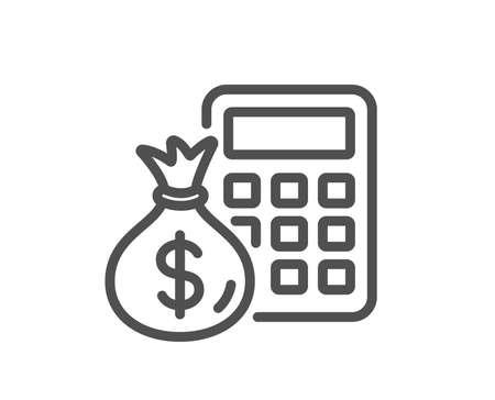 Calcolatrice con l'icona della linea della borsa dei soldi. Segno di contabilità. Calcola il simbolo delle finanze. Elemento di design di qualità. Stile classico. Tratto modificabile. Vettore