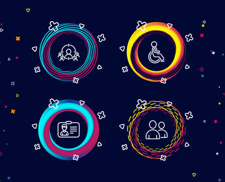 Set of Business targeting, Disabled and Identification card icons. Users sign. People and target aim, Handicapped wheelchair, Person document. Couple of people.  Circle banners with line icons