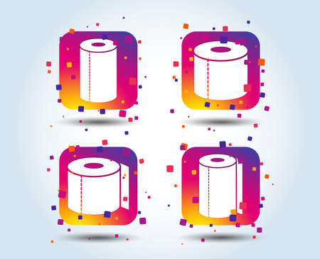 Toilet paper icons. Kitchen roll towel symbols. WC paper signs. Colour gradient square buttons. Flat design concept. Vector Archivio Fotografico - 110380549