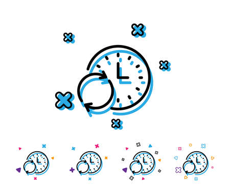 Time line icon. Update clock or Deadline symbol. Time management sign. Line icon with geometric elements. Bright colourful design. Vector