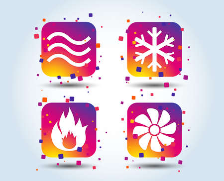 HVAC icons. Heating, ventilating and air conditioning symbols. Water waves supply. Climate control technology signs. Colour gradient square buttons. Flat design concept. Vector