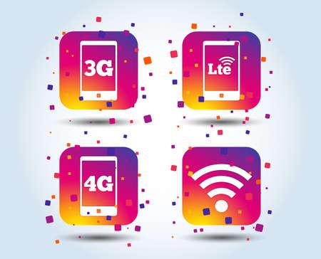 Icônes de télécommunications mobiles. Symboles de la technologie 3G, 4G et LTE. Signes d'évolution Wifi sans fil et à long terme. Boutons carrés de dégradé de couleur. Concept de design plat. Vecteur