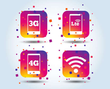 Mobile telecommunications icons. 3G, 4G and LTE technology symbols. Wifi Wireless and Long-Term evolution signs. Colour gradient square buttons. Flat design concept. Vector Illustration