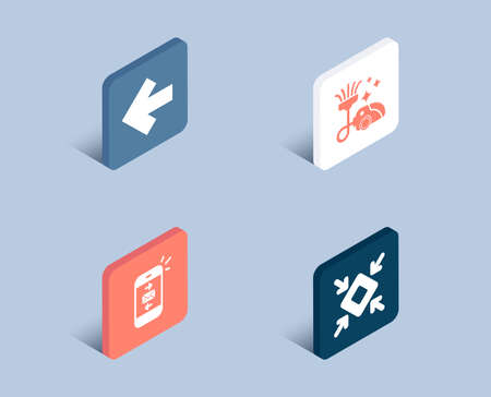 Set of Left arrow, Vacuum cleaner and Mail icons. Minimize sign. Direction arrow, Vacuum-clean, Smartphone communication. Small screen.  3d isometric buttons. Flat design concept. Vector