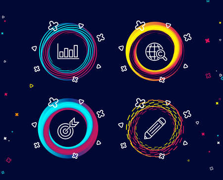 Set of Target, Report diagram and International Ð¡opyright icons. Pencil sign. Targeting, Financial market, World copywriting. Edit data.  Circle banners with line icons. Gradient colors shapes