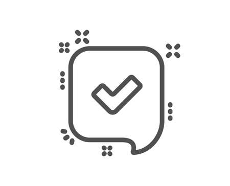 Approve line icon. Accepted or confirmed sign. Speech bubble symbol. Quality design element. Classic style approve tick. Editable stroke. Vector