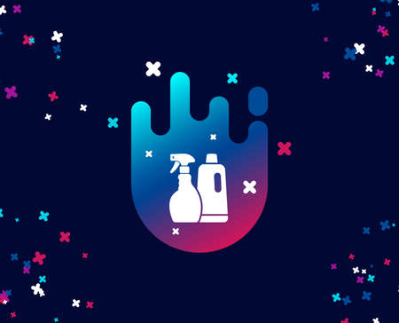 Cleaning spray and Shampoo simple icon. Washing liquid or Cleanser symbol. Housekeeping equipment sign. Cool banner with icon. Abstract shape with gradient. Vector  イラスト・ベクター素材