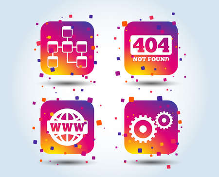 Website database icon. Internet globe and gear signs. 404 page not found symbol. Under construction. Colour gradient square buttons. Flat design concept. Vector Illustration