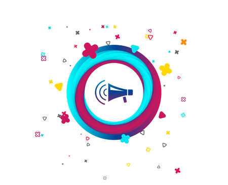 Megaphone sign icon. Loudspeaker strike symbol. Colorful button with icon. Geometric elements. Vector