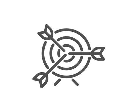 Target line icon. Marketing targeting strategy symbol. Aim with arrows sign. Quality design element. Classic style target aim icon. Editable stroke. Vector