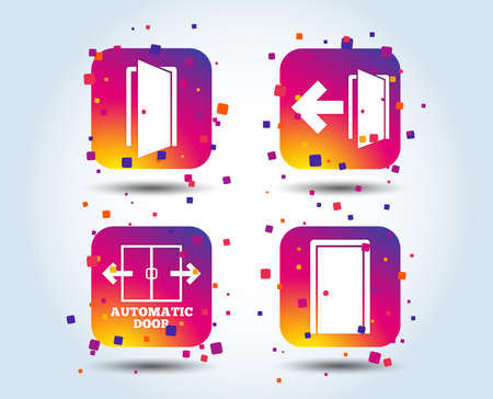 Automatic door icon. Emergency exit with arrow symbols. Fire exit signs. Colour gradient square buttons. Flat design concept. Vector