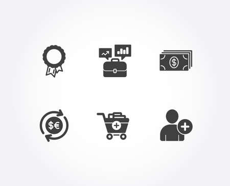 Set of Banking, Add products and Money currency icons. Success, Business portfolio and Add user signs. Money payment, Shopping cart, Cash change. Award reward, Job interview, Profile settings. Vector