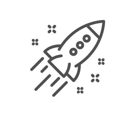 Icono de línea de cohete de inicio. Signo de proyecto de lanzamiento. Símbolo de innovación. Elemento de diseño de calidad. Icono de cohete de inicio de estilo clásico. Trazo editable. Vector Ilustración de vector