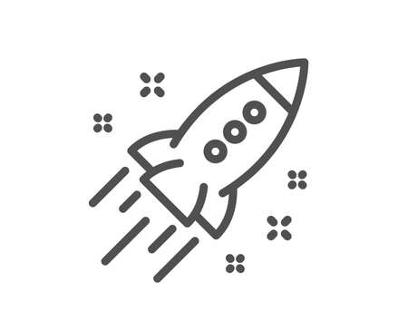 Startup rocket line icon. Launch Project sign. Innovation symbol. Quality design element. Classic style startup rocket icon. Editable stroke. Vector Vector Illustration