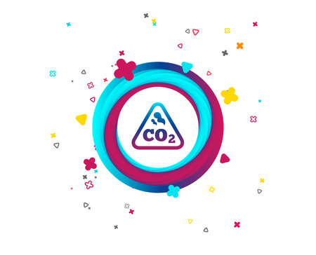 CO2 carbon dioxide formula sign icon. Chemistry symbol. Colorful button with icon. Geometric elements. Vector Çizim