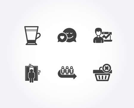 Set of Dating, Success business and Latte icons. Elevator, Queue and Delete order signs. Love messenger, Growth chart, Coffee beverage. Lift, People waiting, Clean basket.  Quality design elements