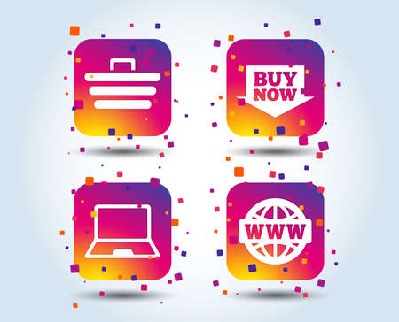Online shopping icons. Notebook pc, shopping cart, buy now arrow and internet signs. WWW globe symbol. Colour gradient square buttons. Flat design concept. Vector Illustration