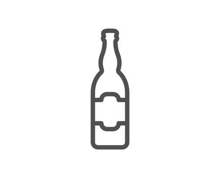 Beer bottle line icon. Pub Craft beer sign. Brewery beverage symbol. Quality design element. Classic style. Editable stroke. Vector