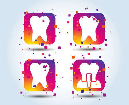 Dental care icons. Caries tooth sign. Tooth endosseous implant symbol. Colour gradient square buttons. Flat design concept. Vector