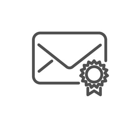 Verified Mail line icon. Confirmed Message correspondence sign. E-mail symbol. Quality design element. Classic style. Editable stroke. Vector Foto de archivo - 107622314