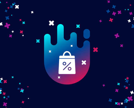 Shopping bag with Percentage simple icon. Supermarket buying sign. Sale and Discounts symbol. Cool banner with icon. Abstract shape with gradient. Vector
