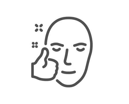 건강한 얼굴 피부 라인 아이콘입니다. 좋은 관리 기호입니다. 상징처럼. 품질 디자인 요소입니다. 고전적인 스타일의 건강한 얼굴 아이콘입니다. 편집 가능한 스트로크. 벡터