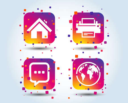 Home main page and globe icons. Printer and chat speech bubble with suspension points sign symbols. Colour gradient square buttons. Flat design home concept. Vector Illustration