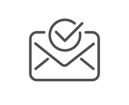 Approved mail line icon. Accepted or confirmed sign. Document symbol. Quality design element. Classic style. Editable stroke. Vector